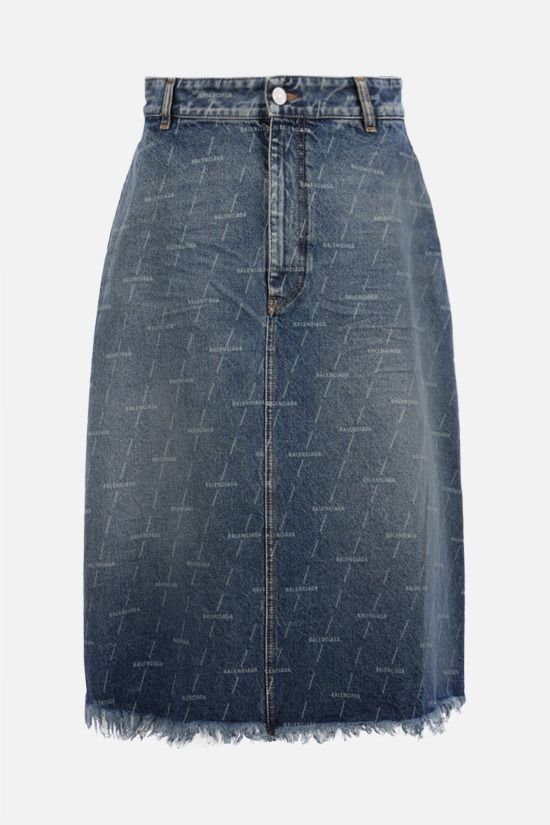 BALENCIAGA: logo print denim A-line skirt Color Blue_1