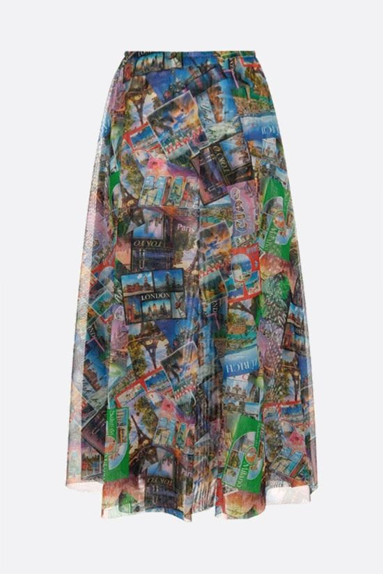 BALENCIAGA: Postcards stretch tulle A-line skirt Color Multicolor_1