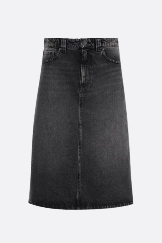 BALENCIAGA: denim A-line skirt Color Black_1