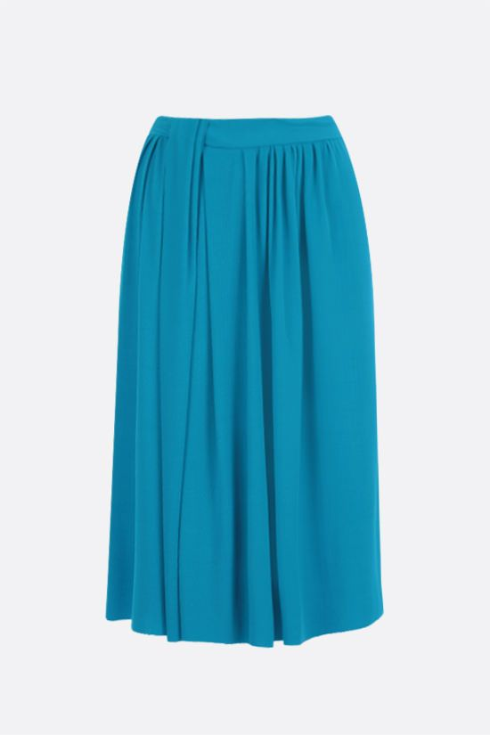 BALENCIAGA: knot-detailed technical jersey pleated skirt Color Blue_1