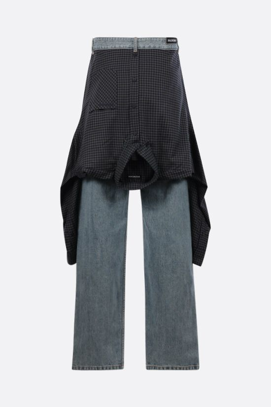 BALENCIAGA: Hybrid Shirt wide-leg jeans Color Blue_2