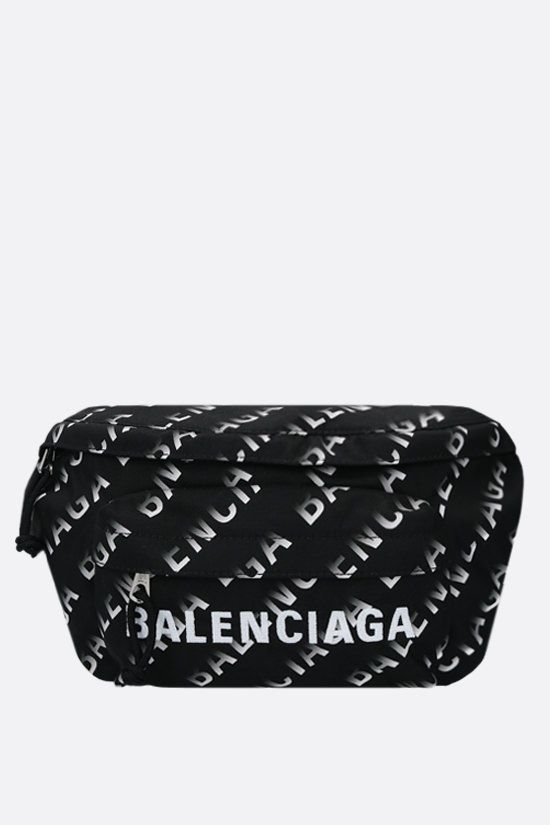 BALENCIAGA: Wheel belt bag in Grad Logo printed nylon Color Black_1