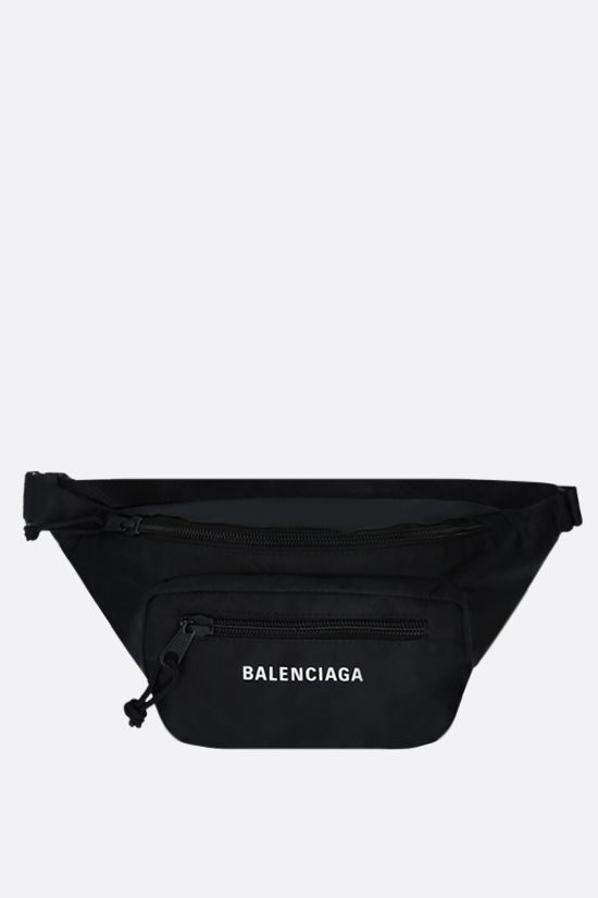 BALENCIAGA: Expandable recycled nylon belt bag Color Black_1