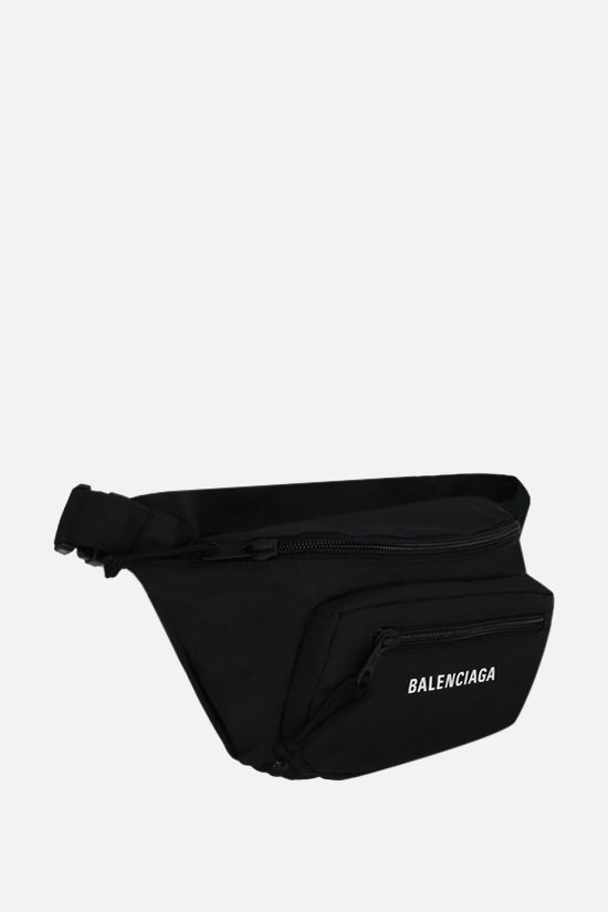BALENCIAGA: Expandable recycled nylon belt bag Color Black_2