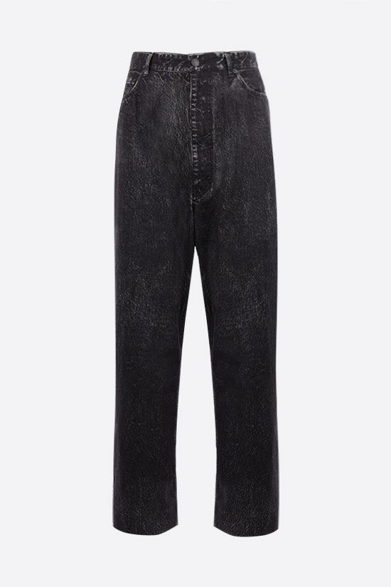 BALENCIAGA: Trompe-l'oeil cotton baggy pants Color Black_1