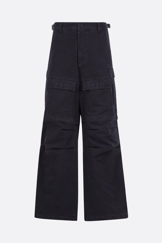 BALENCIAGA: logo-embroidered cotton cargo pants Color Black_1