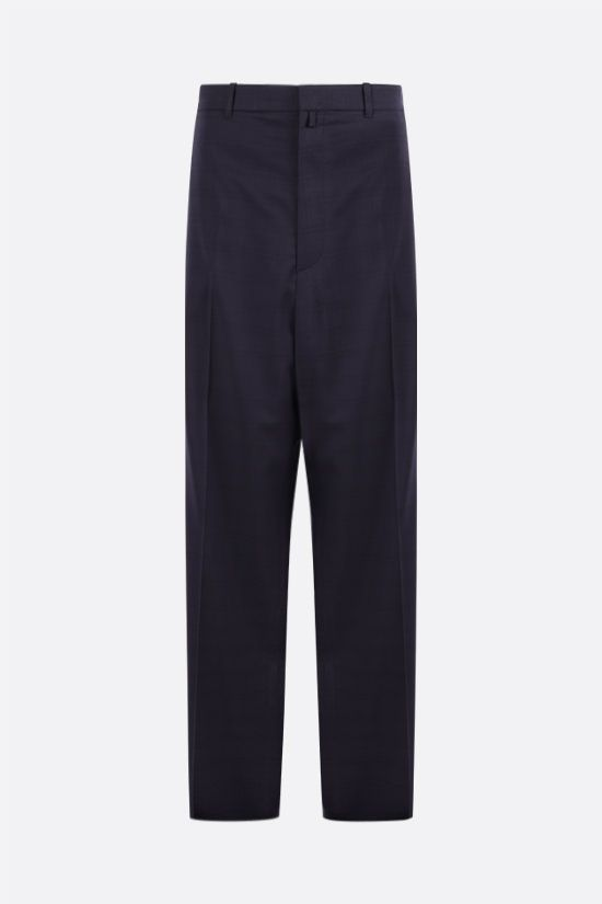 BALENCIAGA: check wool wide-leg pants Color Blue_1