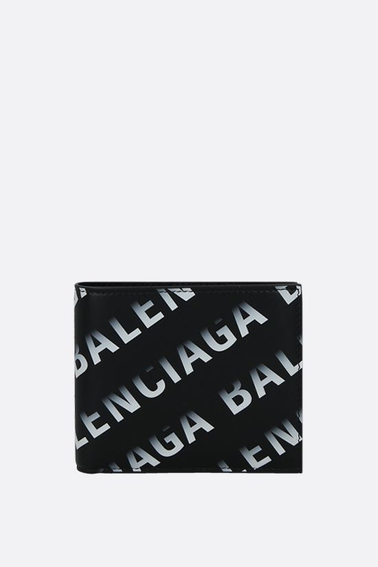 BALENCIAGA: Grad Logo print smooth leather billfold wallet Color Black_1