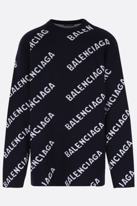 BALENCIAGA: jacquard logo wool blend pullover Color Blue_1