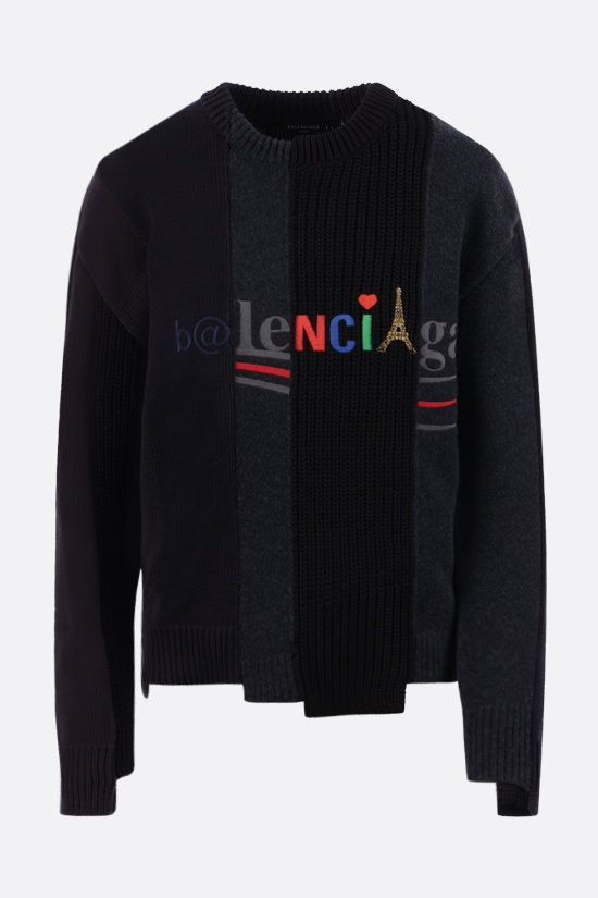 BALENCIAGA: logo-embroidered patchwork cotton and wool pullover Color Multicolor_1