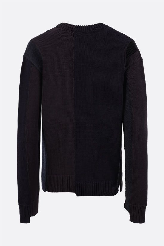 BALENCIAGA: logo-embroidered patchwork cotton and wool pullover Color Multicolor_2