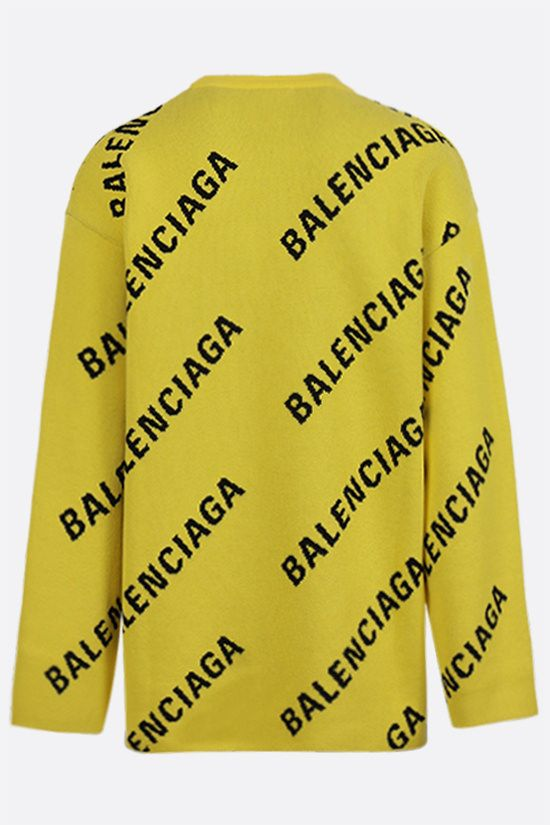 BALENCIAGA: logo-detailed oversize cotton wool blend pullover Color Yellow_2