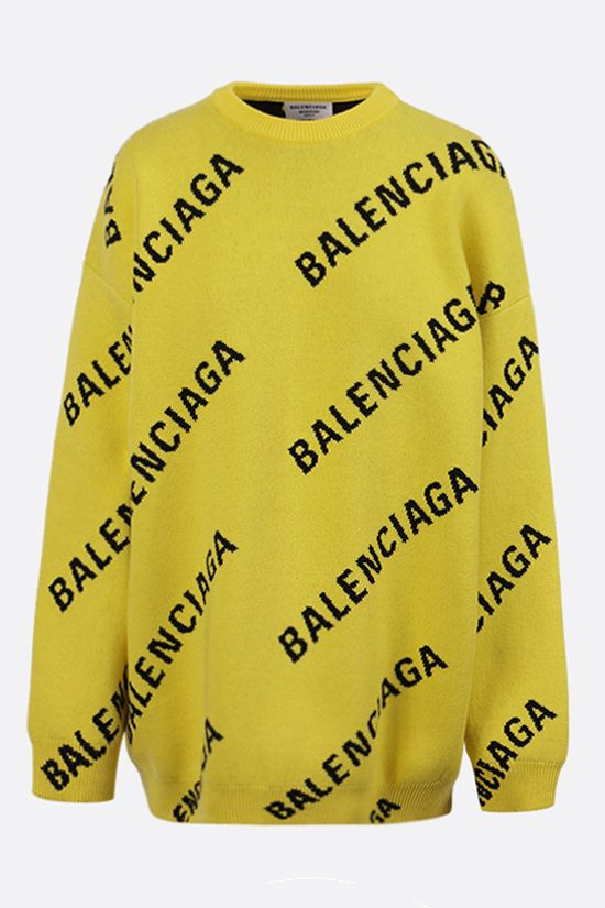 BALENCIAGA: logo-detailed oversize cotton wool blend pullover Color Yellow_1