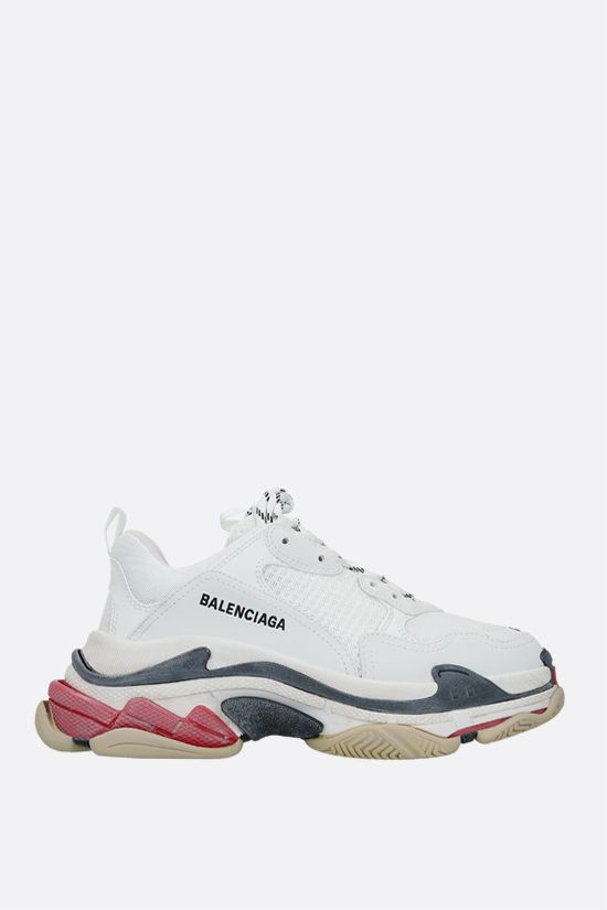 BALENCIAGA: Triple S trainers in faux leather and mesh Color White_1