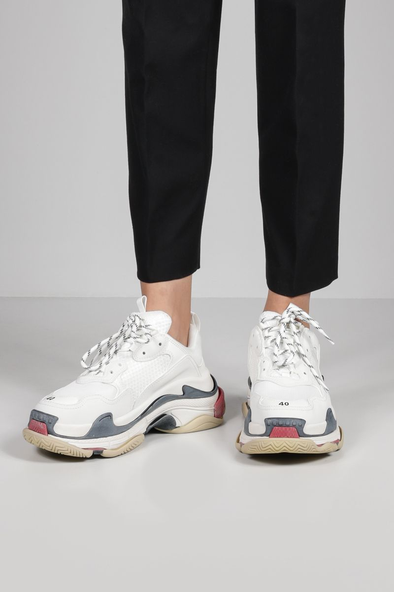 BALENCIAGA: Triple S trainers in faux leather and mesh Color White_2