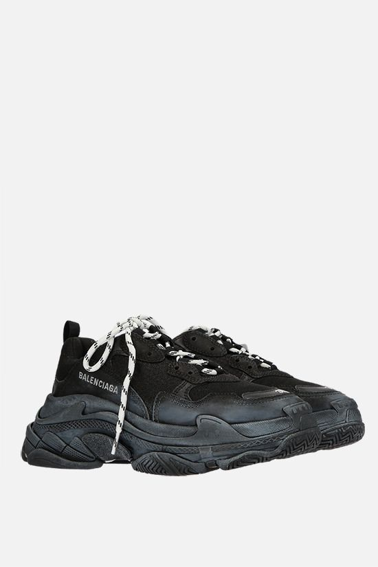 BALENCIAGA: Triple S faux leather and mesh sneakers Color Black_2