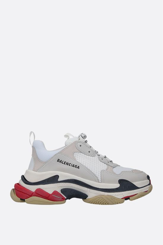 BALENCIAGA: Triple s sneakers in leather, nabuk and mesh Color White_1