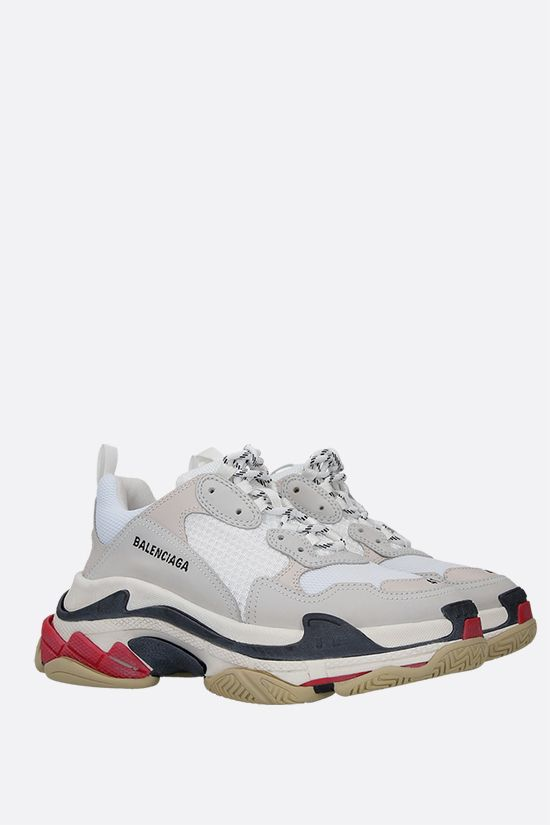 BALENCIAGA: Triple s sneakers in leather, nabuk and mesh Color White_2
