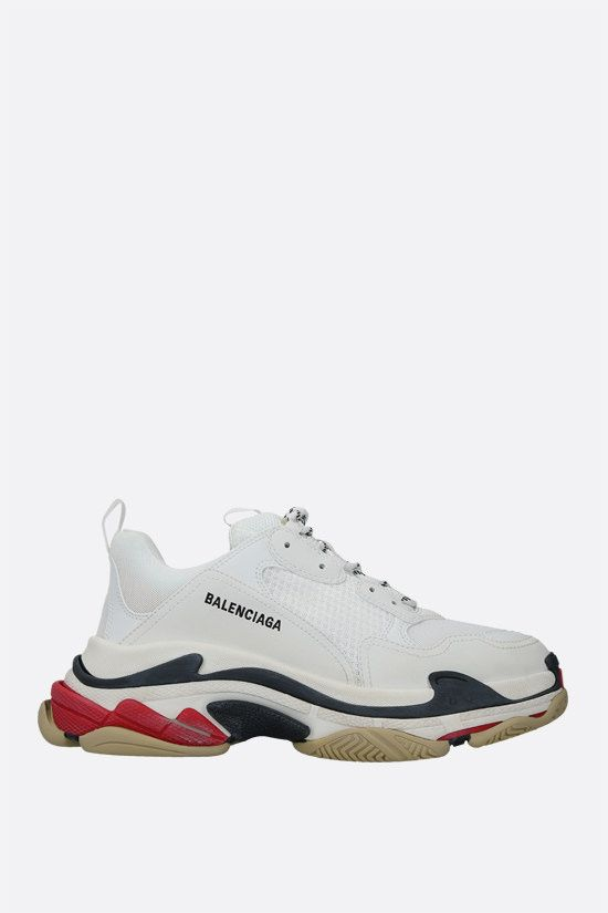 BALENCIAGA: Triple S faux leather and mesh sneakers Color Multicolor_1