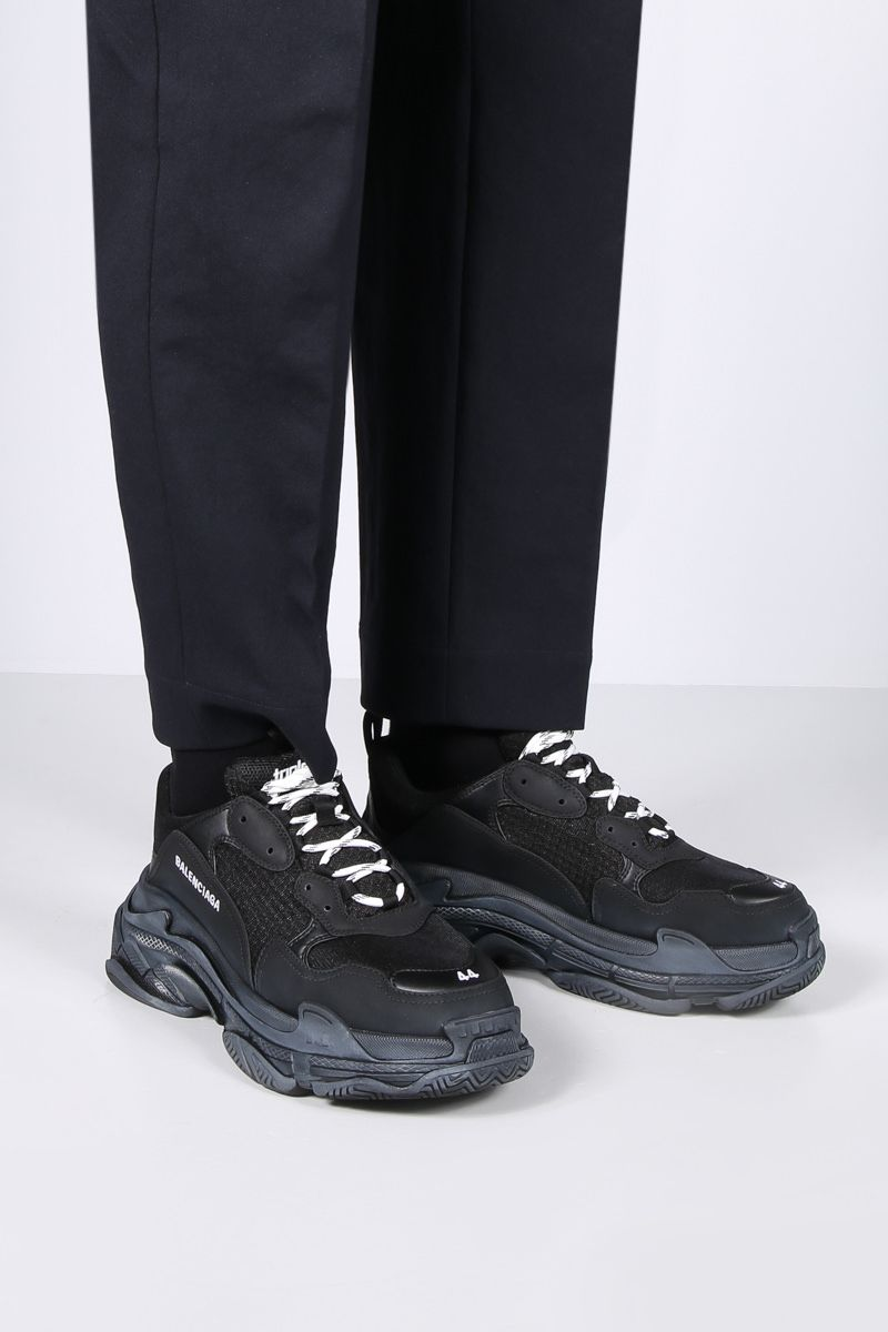 BALENCIAGA: Triple S sneakers in faux leather and mesh Color Black_2