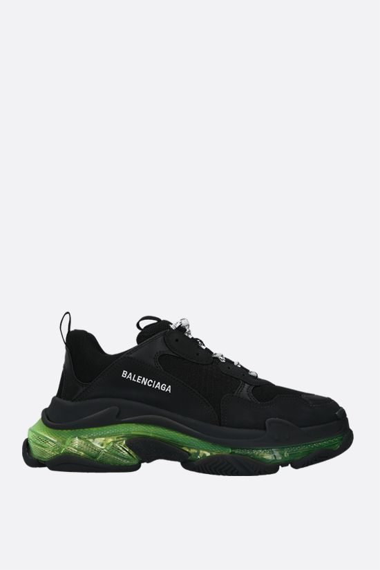 BALENCIAGA: Triple S faux leather and mesh trainers Color Black_1