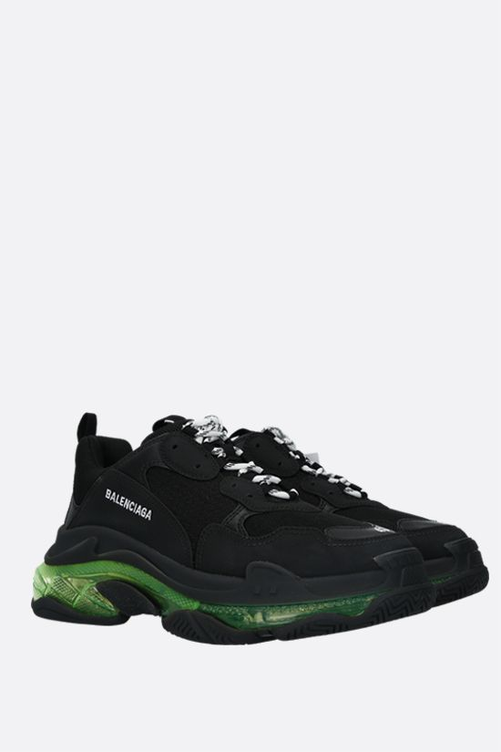BALENCIAGA: Triple S faux leather and mesh trainers Color Black_2