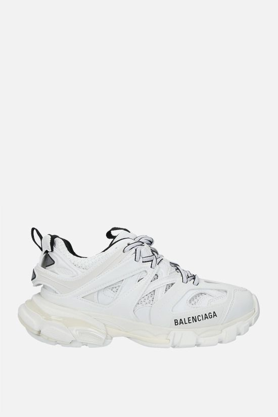 BALENCIAGA: Track faux leather and mesh sneakers Color White_1
