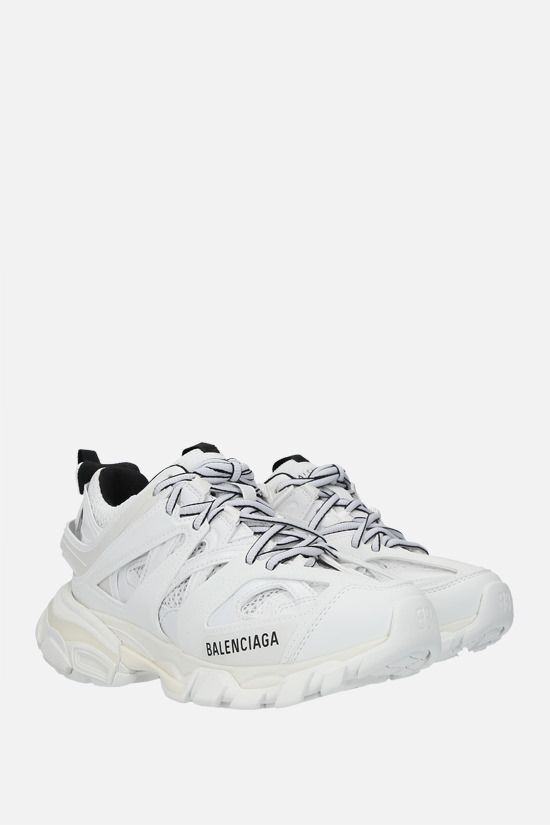 BALENCIAGA: Track faux leather and mesh sneakers Color White_2