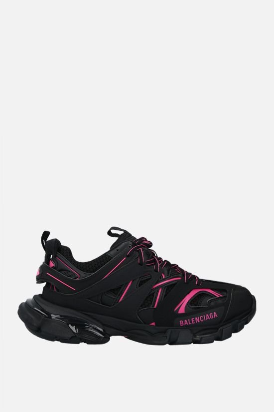 BALENCIAGA: Track faux leather and mesh sneakers Color Black_1