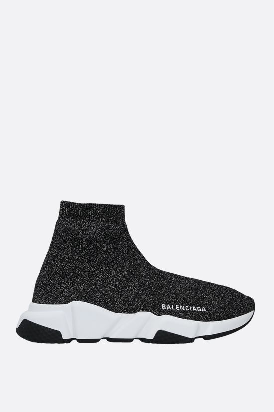 BALENCIAGA: Speed lamè stretch knit trainers Color Black_1