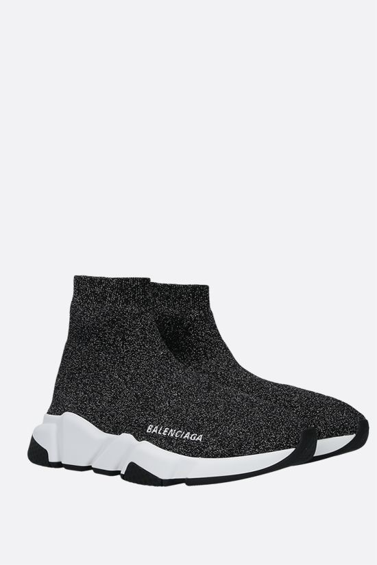 BALENCIAGA: Speed lamè stretch knit trainers Color Black_2
