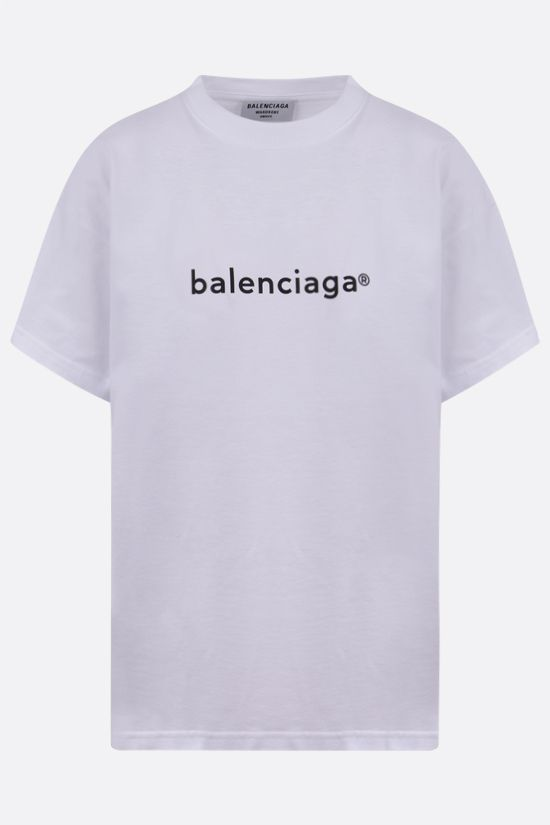 BALENCIAGA: logo print cotton t-shirt Color White_1