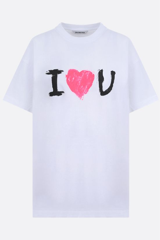 BALENCIAGA: I love you print cotton t-shirt Color White_1