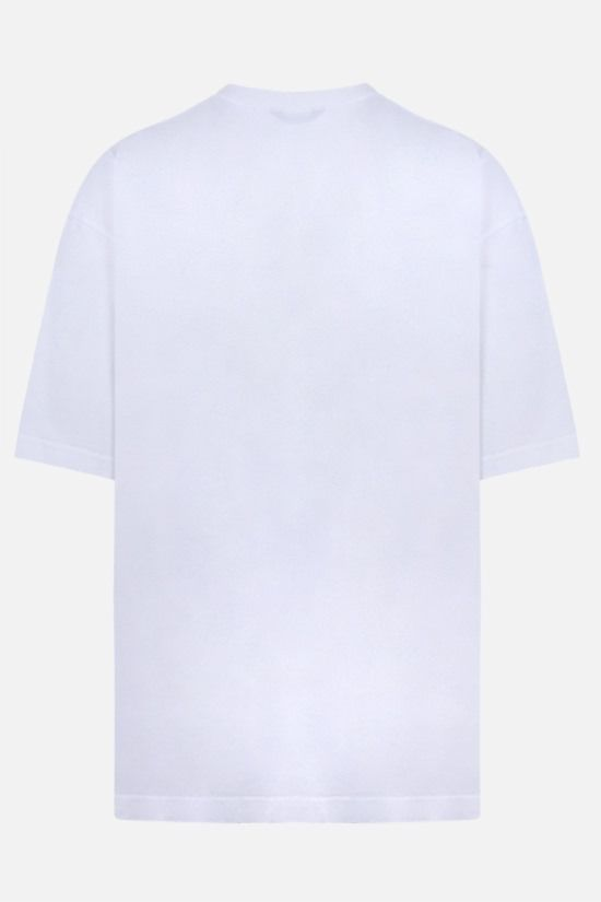 BALENCIAGA: logo embroidered cotton t-shirt Color White_2