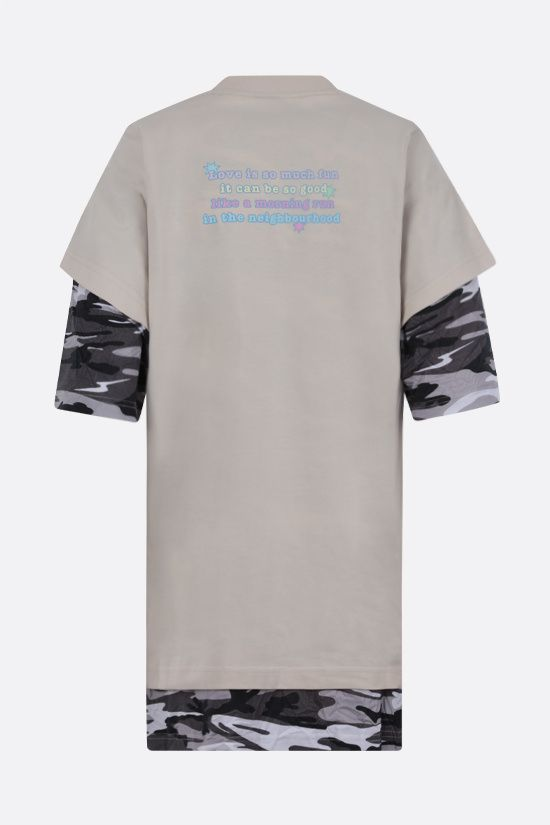 BALENCIAGA: Love Poem double layered cotton t-shirt Color Neutral_2