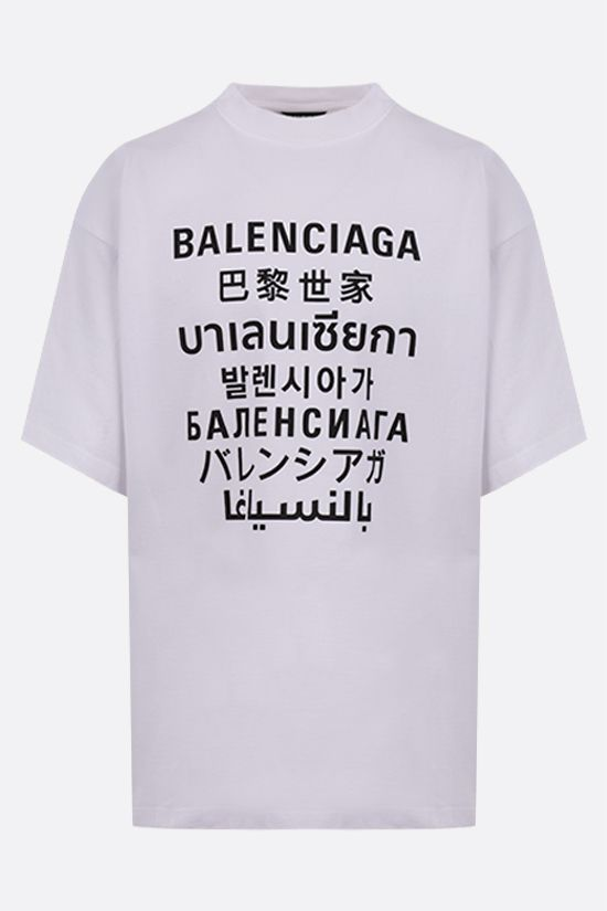 BALENCIAGA: Languages oversize cotton t-shirt Color White_1