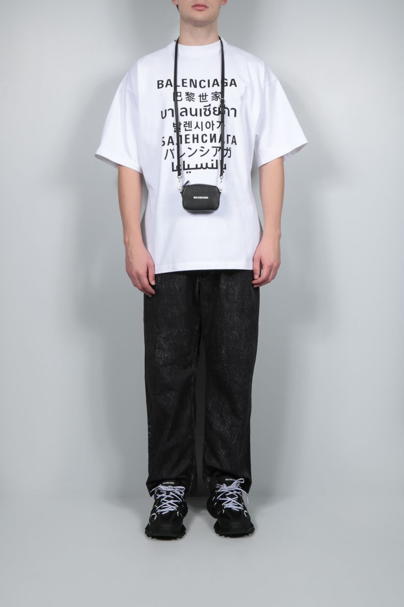 BALENCIAGA: Languages oversize cotton t-shirt Color White_2