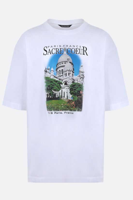 BALENCIAGA: Paris, France print cotton oversize t-shirt Color White_1