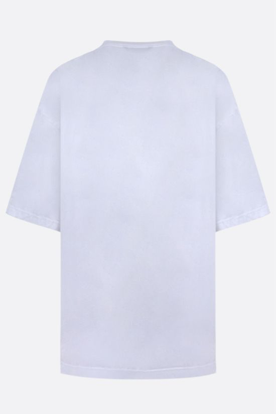 BALENCIAGA: oversize logo print cotton blend t-shirt Color White_2