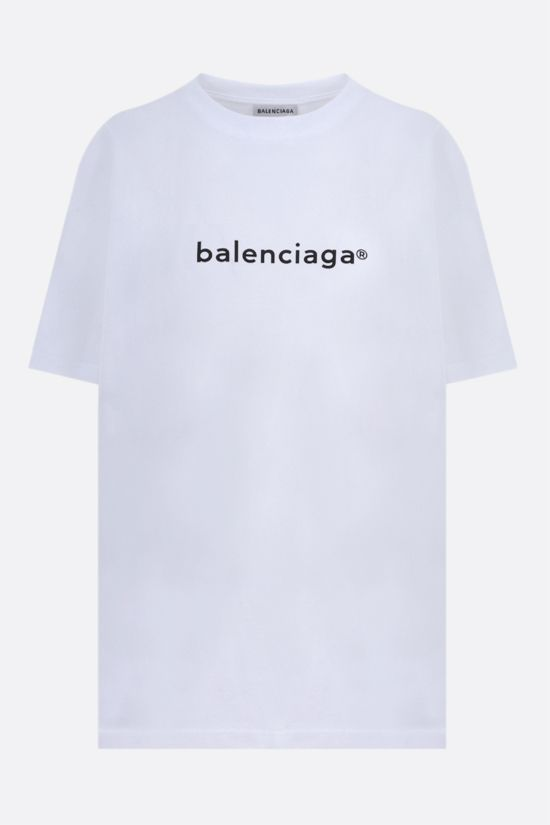 BALENCIAGA: balenciaga® print cotton oversize t-shirt Color White_1