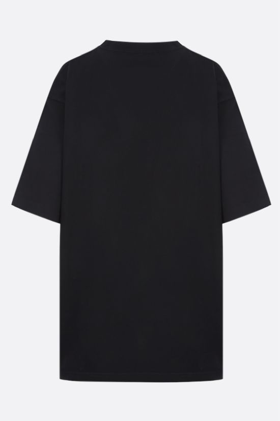 BALENCIAGA: logo embroidered cotton t-shirt Color Black_2