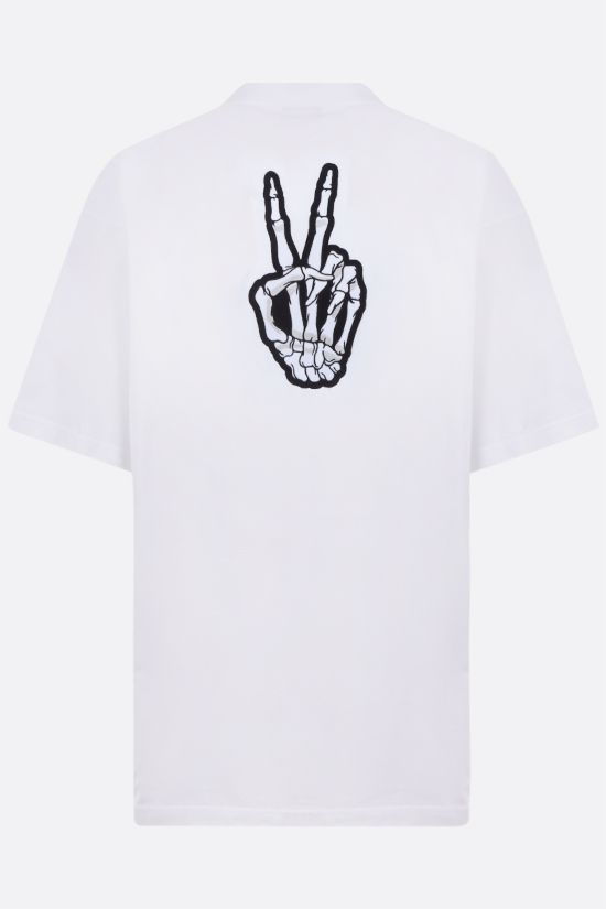 BALENCIAGA: Drip Peace oversize cotton t-shirt Color White_2