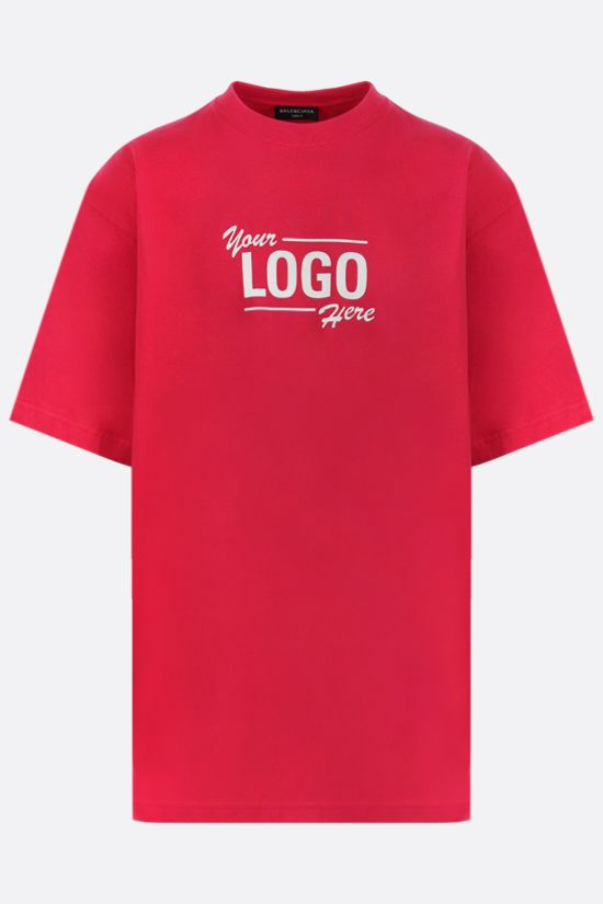 BALENCIAGA: Your LOGO Here print oversize cotton t-shirt Color Red_1
