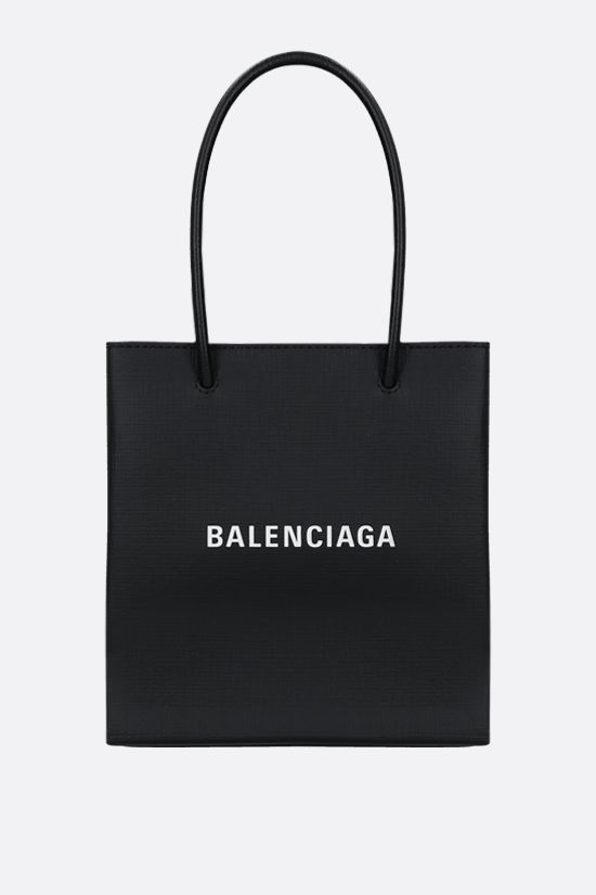 BALENCIAGA: Shopping XXS textured leather tote bag Color Black_1