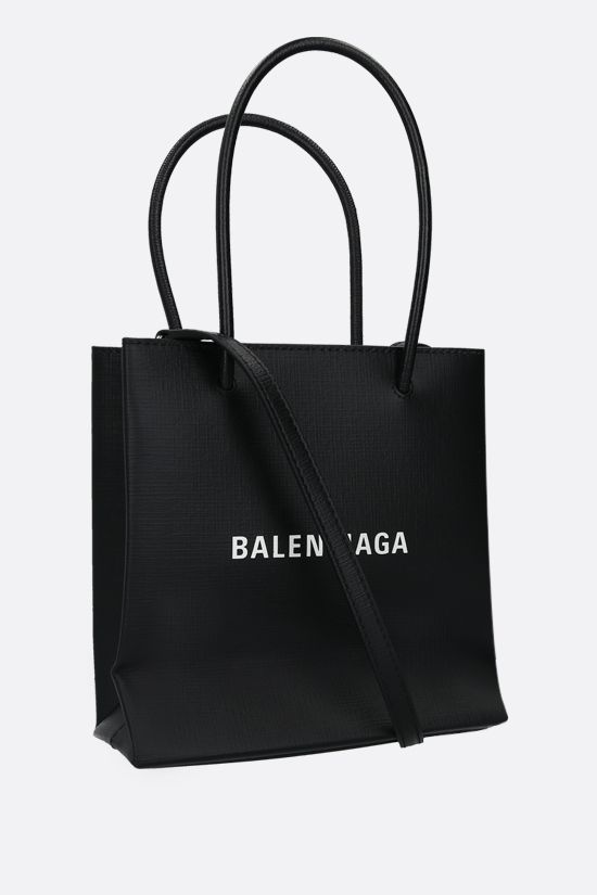 BALENCIAGA: Shopping XXS textured leather tote bag Color Black_2
