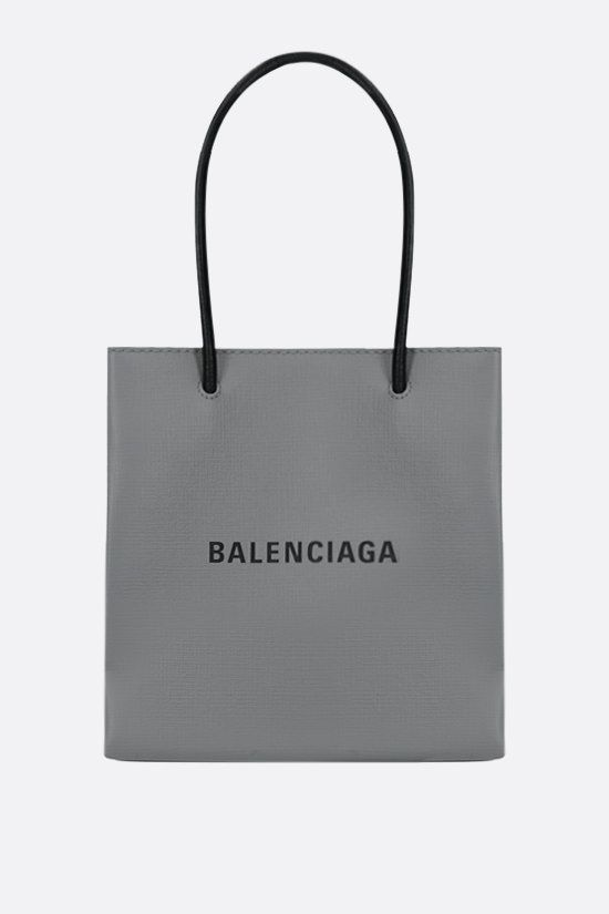BALENCIAGA: Shopping XXS textured leather tote bag Color Grey_1
