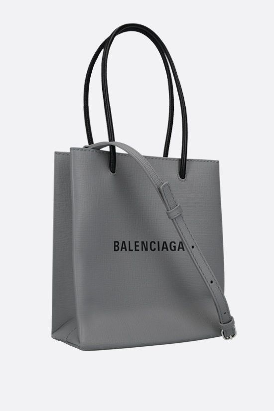 BALENCIAGA: Shopping XXS textured leather tote bag Color Grey_2