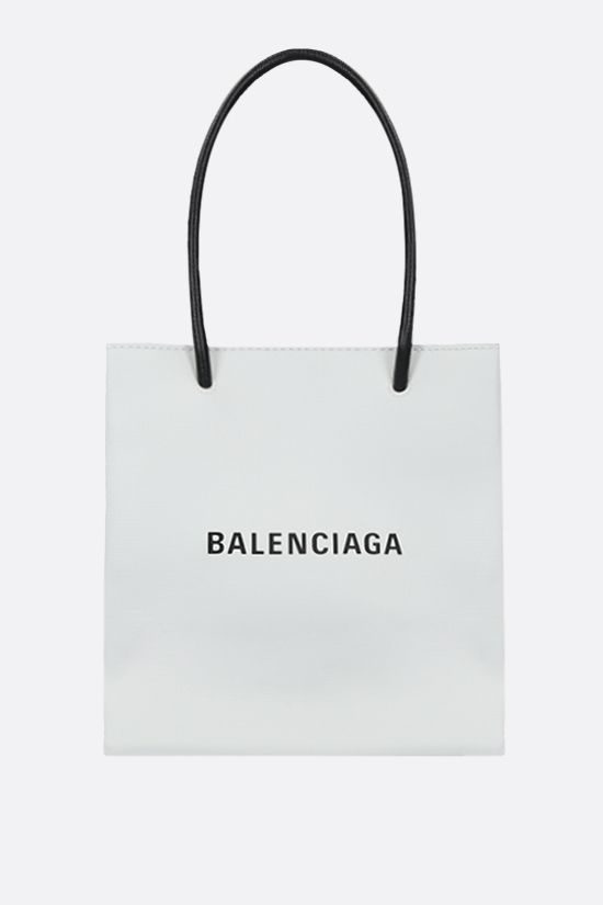 BALENCIAGA: Shopping XXS textured leather tote Color White_1