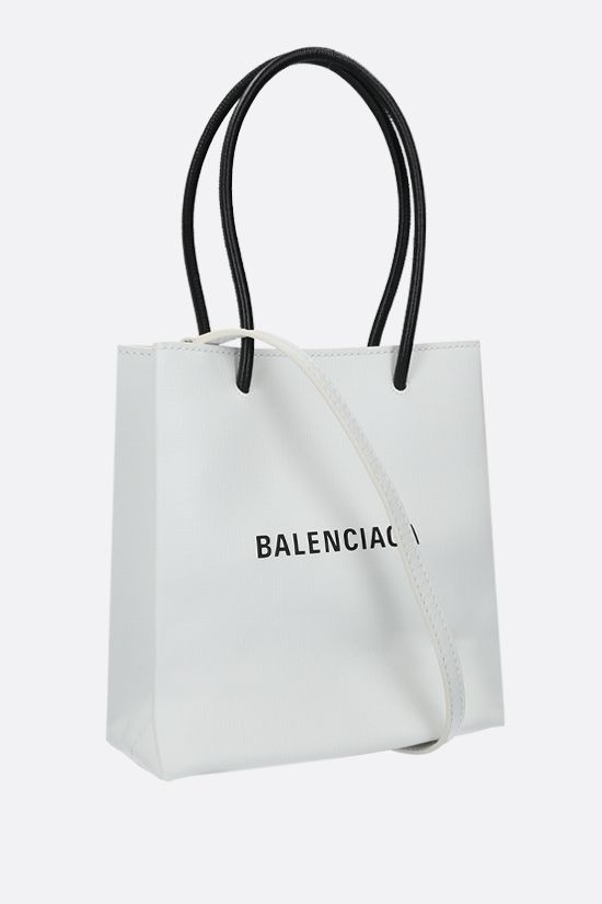 BALENCIAGA: Shopping XXS textured leather tote Color White_2