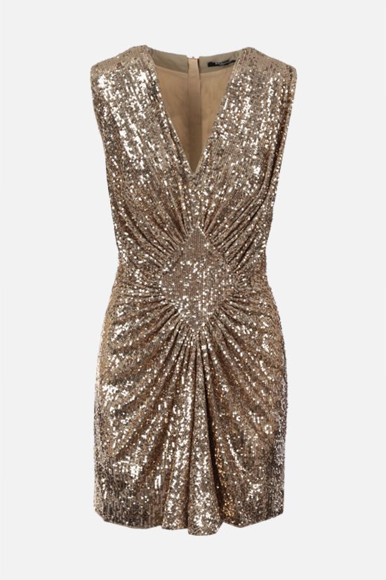 BALMAIN: sequinned fabric minidress Color Gold_1